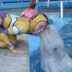 Anika backstage before performing as a synchronized swimmer with beluga whales and dolphins