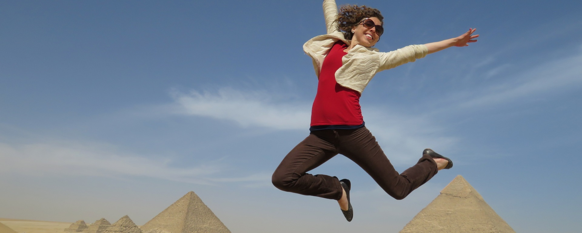 Anika Mikkelson - Jumping at the Pyramids of Giza, Egypt - www.MissMaps.com