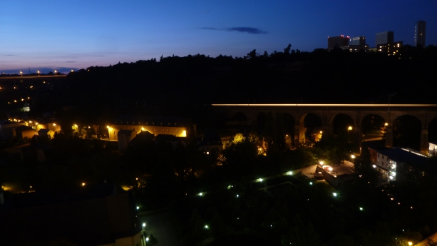 A train passes by at night Luxembourg City, Luxembourg July 27, 2014