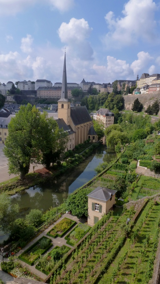 View of one of the historic quarters Luxembourg City, Luxembourg July 27, 2014