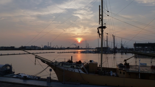 A sunset from the Botel Amsterdam
