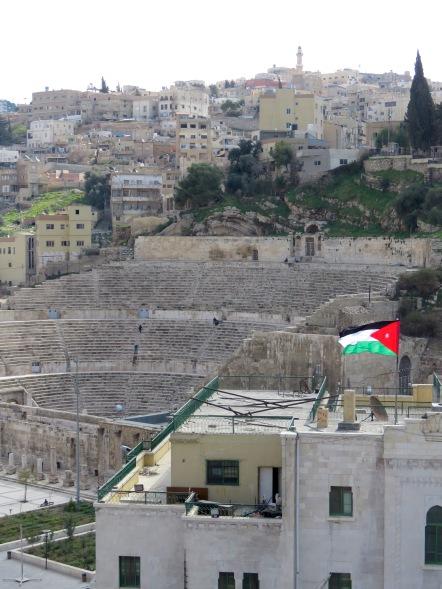 Jordanian Flag outside the Roman Theater - Amman, Jordan