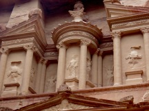 Close up of the Treasury in Petra - high above the entrance, this is where the real treasures were stored - by Anika Mikkelson - Miss Maps - www.MissMaps.com