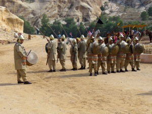 Costumed soldiers performed just outside of Petra's Siq - by Anika Mikkelson - Miss Maps - www.MissMaps.com