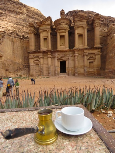 Enjoying Arabic Coffee at the base of Petra's Monastery 'El Deir' - by Anika Mikkelson - Miss Maps - www.MissMaps.com