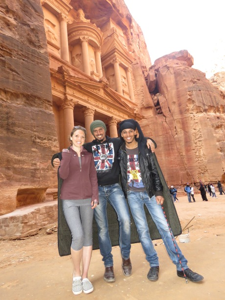 I ran into some friends from Amman just as I was leaving Petra. We three shared a coat to keep warm - Anika Mikkelson - Miss Maps - www.MissMaps.com