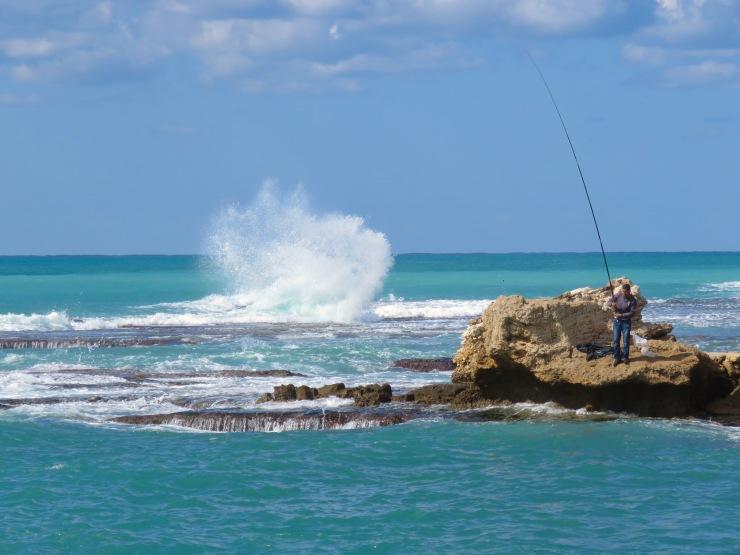 Fishermen were thankful for blue skies teetering on the edge of stormy skies