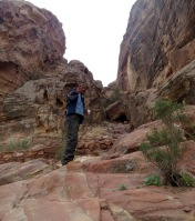 One of the locals, Lost of Petra, takes me on a hike with bedouin whisky (tea) to see The Treasury from above - by Anika Mikkelson - Miss Maps - www.MissMaps.com
