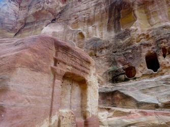 Reliefs are carved into mountains and cliffs all around Petra - by Anika Mikkelson - Miss Maps - www.MissMaps.com