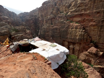 The bedouin tent welcoming visitors to see Petra's Treasury from above - by Anika Mikkelson - Miss Maps - www.MissMaps.com