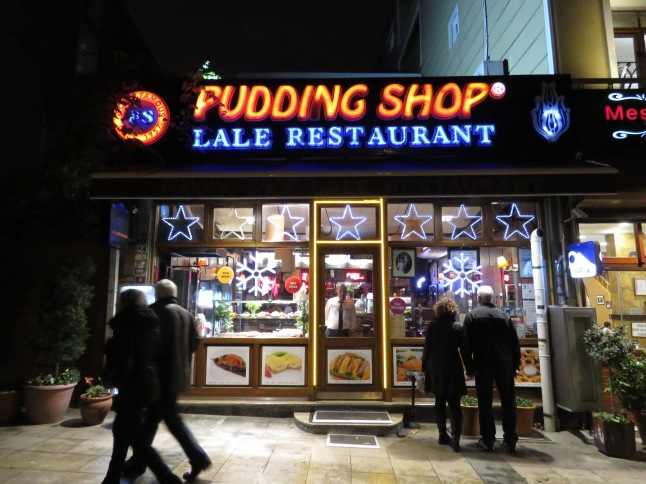 Mom and Dale window shop at The Pudding Shop, said to be a must-see by a good friend from Kuwait