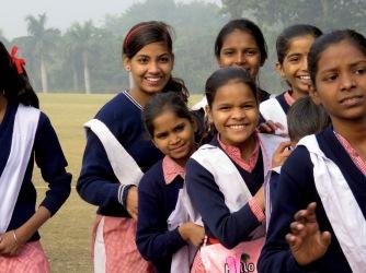 Schoolgirls at Gandhi's Memorial Site - Delhi India - December 2014