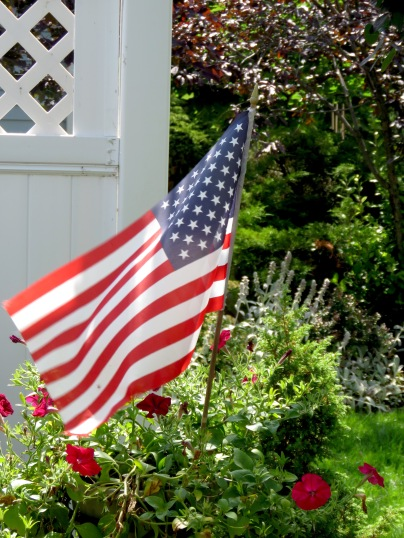 American Flag Waves in the Garden