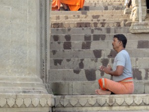 Praying at the River Ganges - Varanasi, India