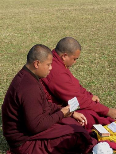 Monks Praying in Lumbini Nepal, the birthplace Buddha - by Anika Mikkelson - Miss Maps