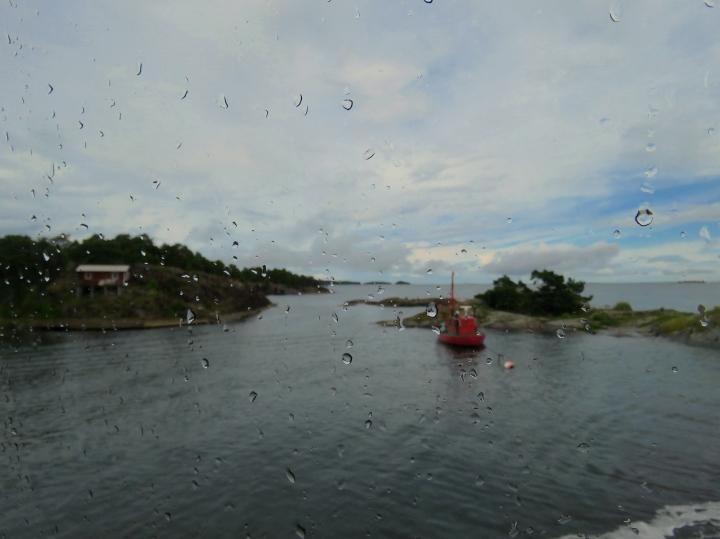 Swedish Archipelago from behind a rain washed window pane