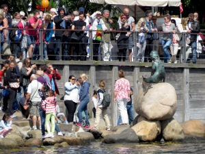 Tourists at The Little Mermaid Statue, Copenhagen, Denmark