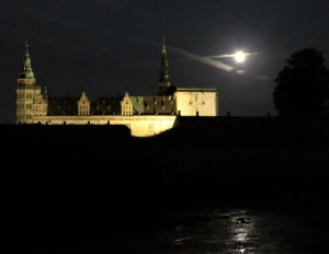 Kronborg Castle under the Moonlight in Helsingore (Elsinore) Denmark. Read the story at www.beautifulfillment.com