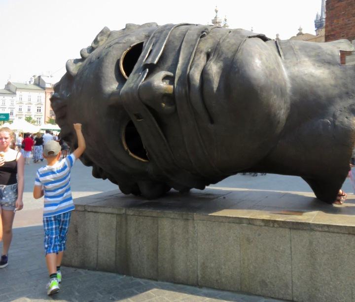 Gigantic Head Sculpture Krakow - Read more at www.beautifulfillment.com