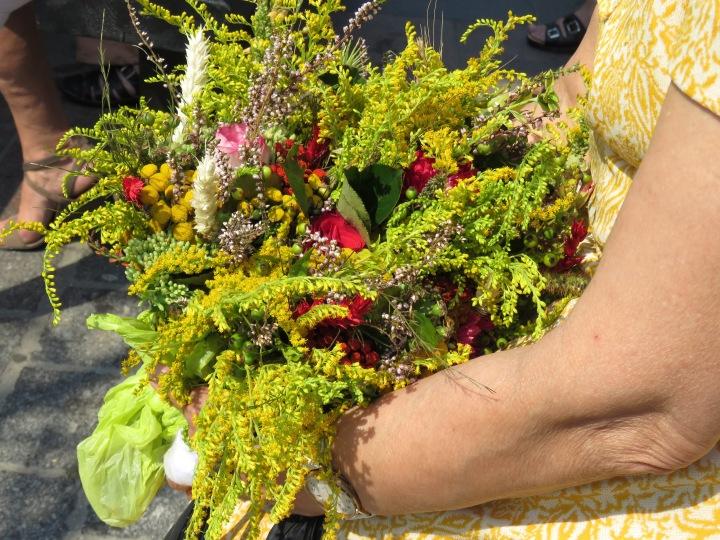 Woman Carrying Flowers Krakow