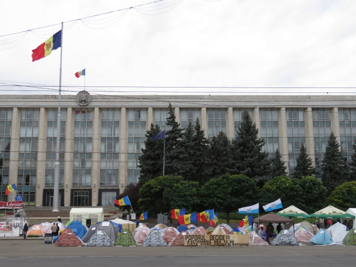 Protests Outside Moldova's Parliament Building - By Anika Mikkelson www.MissMaps.com