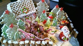 At one of the cafes I frequented, this fully edible Christmas scene was on display. I was told I could take it home. Multumesc! - by Anika Mikkelson - Miss Maps - www.MissMaps.com