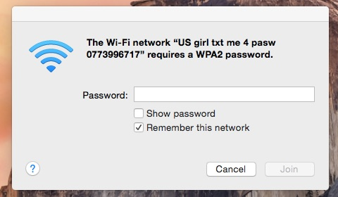 """Check out the name of my neighbor's new wifi network - """"US Girl...."""" That's Kindness!.jpg"""