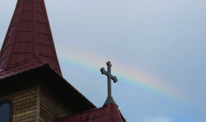 A Rainbow Appeared for a Brief Time one morning - just beyond the church's cross by Anika Mikkelson, Miss Maps, www.MissMaps.com