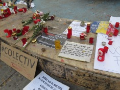 Memorial for the victims of Colectiv Nightclub fire of October 30 2015 - Bucharest Romania - by Anika Mikkelson - Miss Maps - www.MissMaps.com
