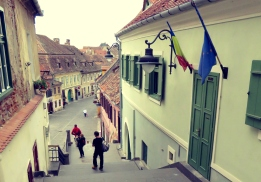 Passage of Steps Connecting Upper and Lower Town Sibiu - Sibiu, Romania - by Anika Mikkelson - Miss Maps - www.MissMaps.com