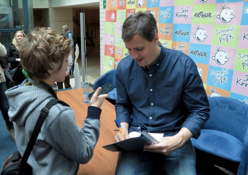 So did we get Jeff Kinney's autograph? You bet we did! We even snagged a brief interview! - Bucharest Romania - by Anika Mikkelson - Miss Maps - www.MissMaps.com