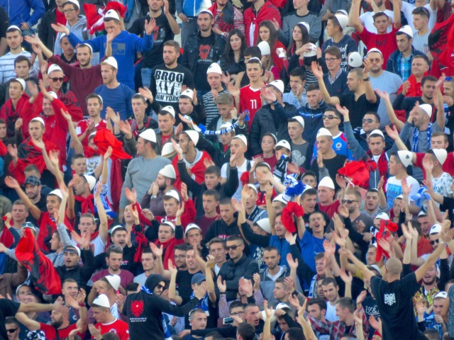 The Albanian Section - Albania's Colors are Red and Black. Notice all the blue?? Those are Kosova Fans