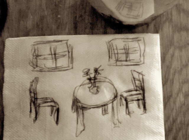 Two Tables and a Chair - On a Napkin