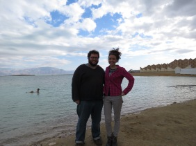 Ben and me standing on the edge of the Dead Sea at Ein Gedi Israel - Anika Mikkelson - Miss Maps - www.MissMaps.com