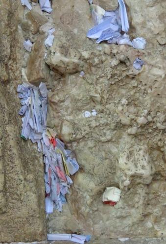 Notes of Prayers stuffed into cracks of Jerusalem's Western Wall - by Anika Mikkelson - Miss Maps - www.MissMaps.com