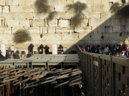 Old City Jerusalem Western Wall - Men and Women pray with a barrier between - by Anika Mikkelson - Miss Maps - www.MissMaps.com