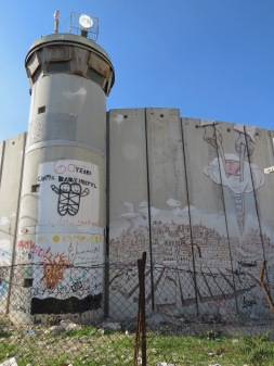 Palestinian Wall showing an image of Jerusalem and Palestine - by Anika Mikkelson - Miss Maps - www.MissMaps.com