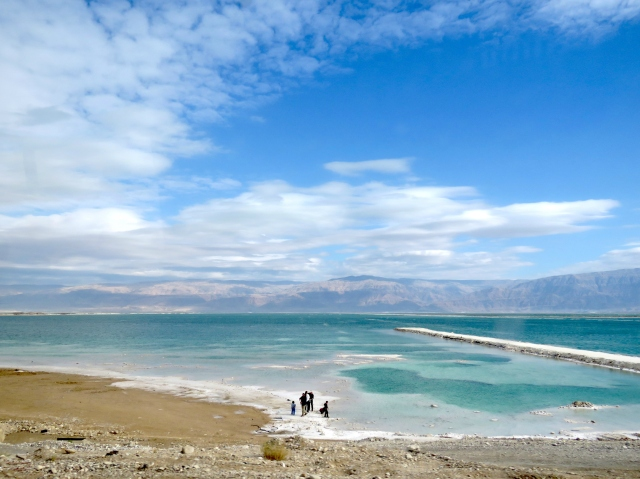 Passing by the Dead Sea and its salty flats near Ein Gedi, Israel - by Anika Mikkelson - Miss Maps - www.MissMaps.com