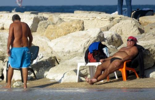Relaxing on the beach of Tel Aviv Israel - by Anika Mikkelson - Miss Maps - www.MissMaps.com