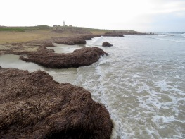 Seaweed and Waves lead to Paphos's lighthouse - by Anika Mikkelson - Miss Maps - www.MissMaps.com