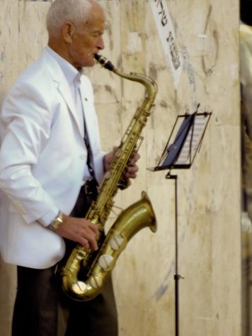 Streetside Saxophone - Tel Aviv Israel - by Anika Mikkelson - Miss Maps - www.MissMaps.com