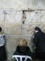 Three generations pray at Old City Jerusalem's Western Wall - by Anika Mikkelson - Miss Maps - www.MissMaps.com