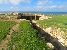 Tomb of the Kings and the Mediterranean Sea in Paphos, Cyprus - by Anika Mikkelson - Miss Maps - www.MissMaps.com