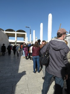 Waiting in line to visit the Temple Mount in Old City Jerusalem - by Anika Mikkelson - Miss Maps - www.MissMaps.com