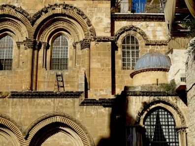 Windows and Arches of the Church of the Holy Sepulchre in Old City Jerusalem - by Anika Mikkelson - Miss Maps - www.MissMaps.com