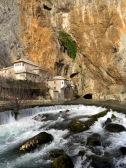 Tekke, Cliffs, and falls of Blagaj, near Mostar in Bosnia and Hercegovina - by Anika Mikkelson - Miss Maps - www.MissMaps.com