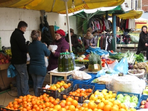 Birra Time and Fruit Vendors - Tirana Albania - by Anika Mikkelson - Miss Maps - www.MissMaps.com