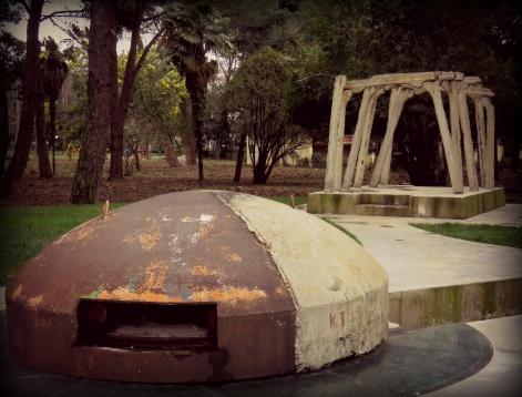 Bunker in Downtown Tirana Albania - by Anika Mikkelson - Miss Maps - www.MissMaps.com