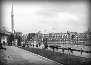 Central Tirana Albania in Black and White - by Anika Mikkelson - Miss Maps - www.MissMaps.com