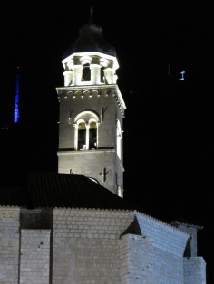 Dominican Church Tower in Old Town with the cross on Srd Mountain - Dubrovnik, Croatia - by Anika Mikkelson - Miss Maps - www.MissMaps.com